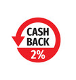 cash back 2 percent money refound - concept badge vector image vector image