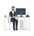 cheerful male office worker or clerk sitting at vector image vector image