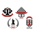 Chess game sports logos and emblems vector image