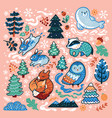 christmas and new year decorative set with animals vector image vector image