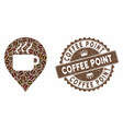 coffee mosaic coffee cup marker with grunge coffee vector image vector image