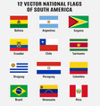 collection 12 national flags south vector image