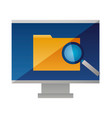 computer monitor folder analysis vector image
