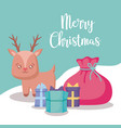 cute reindeer with gift boxes christmas vector image