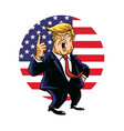 donald trump shouting cartoon american flag vector image vector image