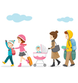 Family Walking To Travel vector image