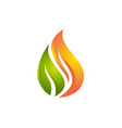 flame and leaf logo vector image vector image