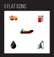 flat icon fuel set of rig van petrol and other vector image vector image