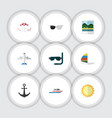flat icon summer set of surfing reminders boat vector image vector image