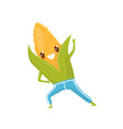 funny corncob doing sports sportive vegetable vector image vector image