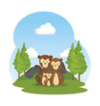 funny family monkeys in the field vector image