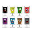 garbage cans with faces waste vector image