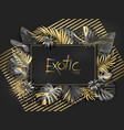 gold palm leaves pattern black background vector image vector image