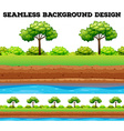 Green field with tree and bush vector image vector image