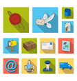 mail and postman flat icons in set collection for vector image vector image