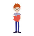 man with mustache and heart in the chest vector image vector image