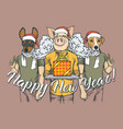 new year concept pig and two dogs vector image