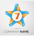 number seven logo symbol in the colorful star on vector image vector image