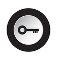 round black white button icon with key vector image vector image