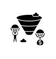 sales funnel black icon sign on isolated vector image vector image