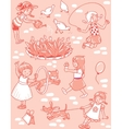 Seamless pattern with playing girls vector image