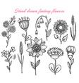 set hand drawn fantasy flowers vector image