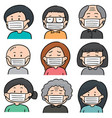 set of people using medical protective mask vector image vector image