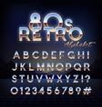 shiny 80s retro alphabet futuristic english font vector image vector image