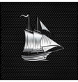 silver sailing ship on metal background vector image vector image