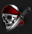 skull of a pirate and knife vector image vector image