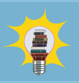 stack books inside a light bulb back to school vector image vector image