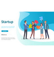startup people with puzzles teamwork website vector image