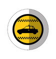 Sticker of color circular emblem with taxi car