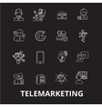 telemarketing editable line icons set on vector image vector image