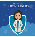 thank you frontliners for keeping us safe and well vector image