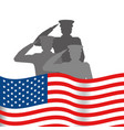 united state flag with military officer vector image vector image