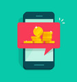 web digital money receiving notice on mobile cell vector image