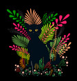 wild black cat with amber eyes sit in a colorful vector image vector image