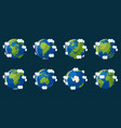 set of globes showing the planet earth with vector image