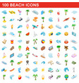 100 beach icons set isometric 3d style vector image vector image