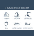 6 sailing icons vector image vector image