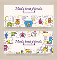animal brochure cards thin line set cute vector image vector image