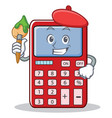 artist cute calculator character cartoon vector image