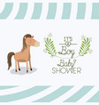baby shower card with cute horse vector image vector image