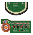 Blackjack and roulette tables vector image vector image