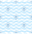 Blue Ships Wheel Seamless Pattern vector image vector image