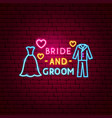 bride and groom neon label vector image vector image