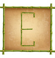 capital letter e made of green bamboo sticks on vector image vector image