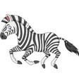 cartoon zebra running vector image vector image