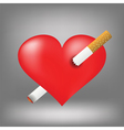 cigarette and heart vector image vector image